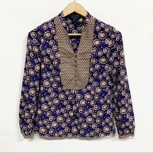 Boden | Blue Printed Popover Blouse 8